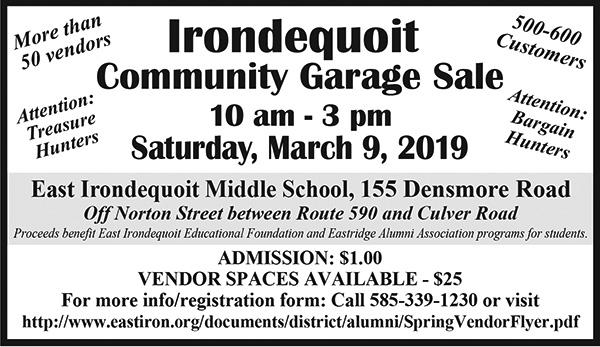 Irondequoit Community Garage Sale - March 9th, 2019.