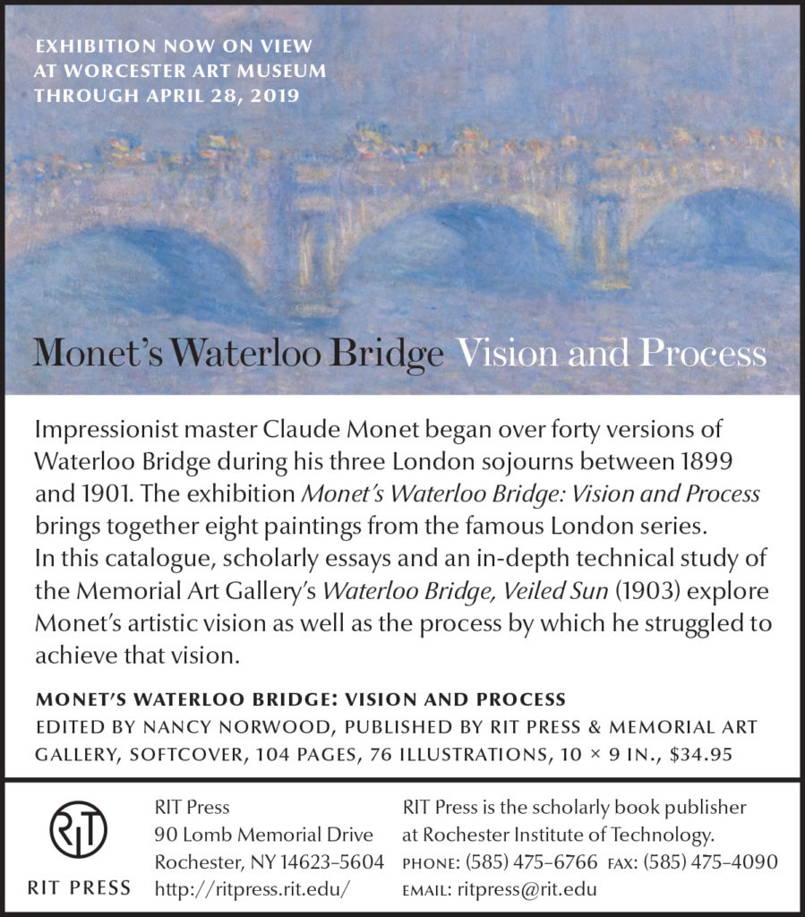 Monet's Waterloo Bridge Vision and Process Exhibition now on view at Worcester Art Museum through April 28th, 2019.